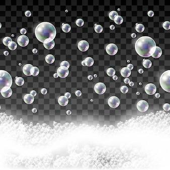 Modèle sans couture isolé avec des bulles de savon et de la mousse de shampooing.