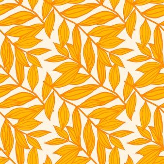 Modèle sans couture isolé floral avec des silhouettes de feuillage de contour. ornement botanique de tons jaunes et orange sur fond blanc.