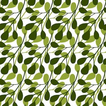 Modèle sans couture d'isolement avec l'ornement blanc simple d'eucalyptus