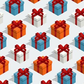 Modèle sans couture isométrique giftbox