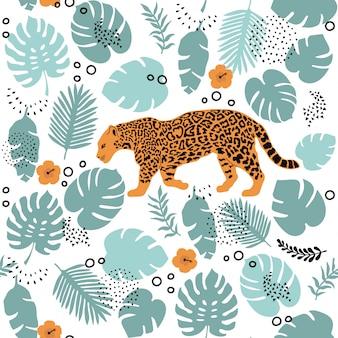 Modèle sans couture avec jaguar et éléments tropicaux