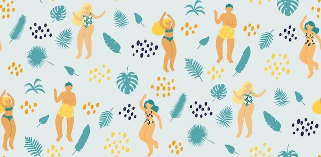 Modèle sans couture avec des jeunes heureux qui dansent en maillot de bain entouré de feuilles tropicales