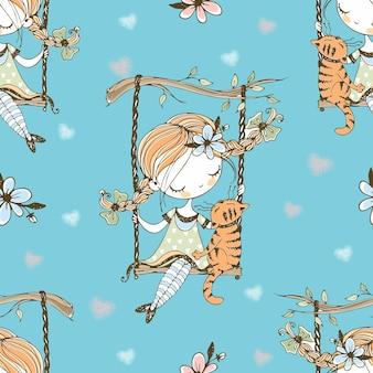 Modèle sans couture. une jolie fille avec des nattes se balance sur une balançoire avec son chat. vecteur.