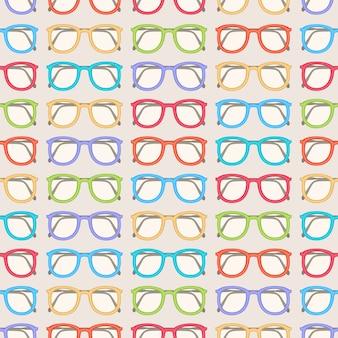 Modèle sans couture avec de jolies lunettes colorées