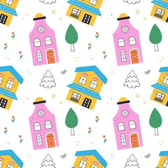 Modèle sans couture avec de jolies maisons, arbres, fleurs. parfait pour le tissu, le textile, le papier peint. illustration vectorielle.
