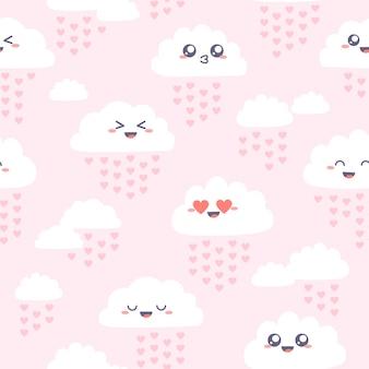 Modèle sans couture avec de jolis nuages kawaii