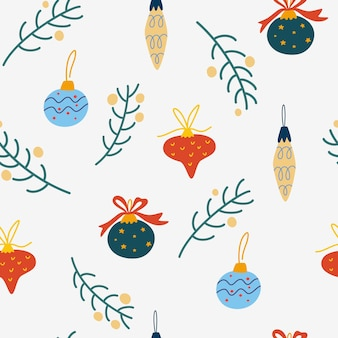 Modèle sans couture de jouets, boules et brindilles d'arbre de noël. fond d'hiver, papier peint pour enfants pour tissu, textile, vêtements, papier, scrapbooking, planificateur. symbole traditionnel du nouvel an. illustration vectorielle.