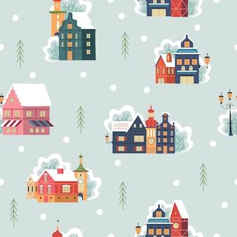 Modèle sans couture jour de neige dans la ville de noël confortable paysage de jour de village de noël d'hiver