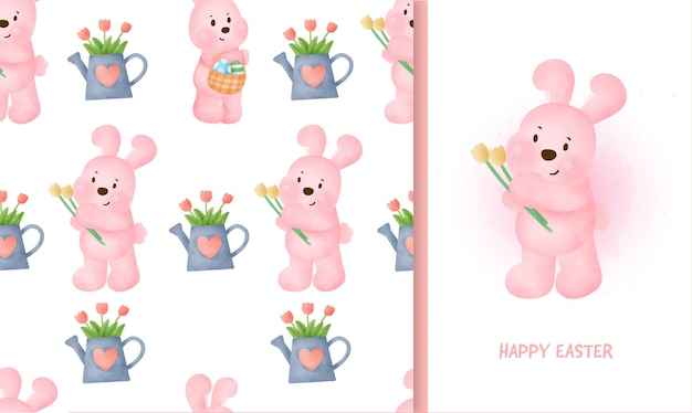 Modèle sans couture jour de pâques avec lapin et carte de voeux en couleur de l'eau iillustration.