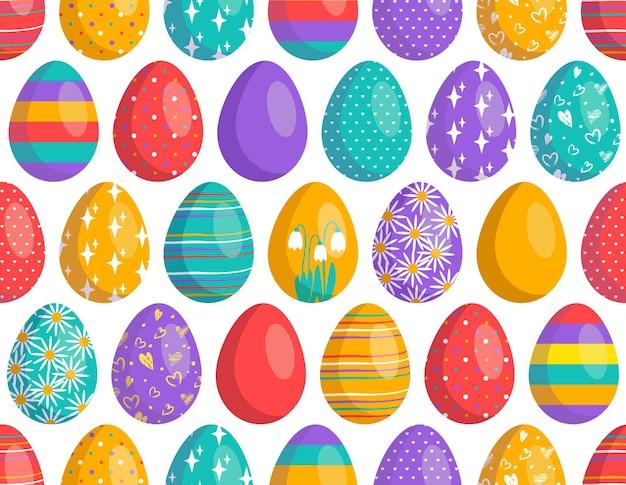 Modèle sans couture de joyeuses pâques avec des oeufs impression de décoration festive