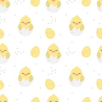 Modèle sans couture joyeuses pâques avec poulet jaune et oeufs de pâques