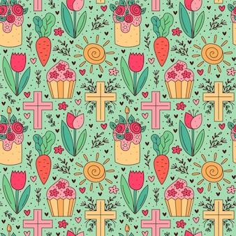 Modèle sans couture de joyeuses pâques vacances doodle