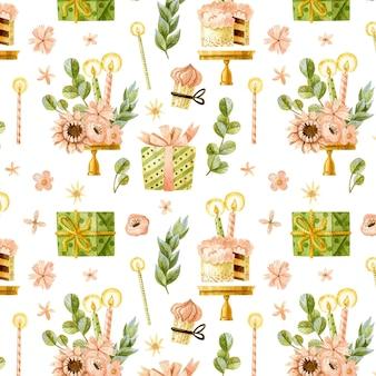 Modèle sans couture de joyeux anniversaire avec des gâteaux, des fleurs et des cadeaux