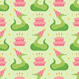 Modèle sans couture de joyeux anniversaire serpent animal mignon dans le chapeau de vacances gâteau de décoration de reptile de jungle