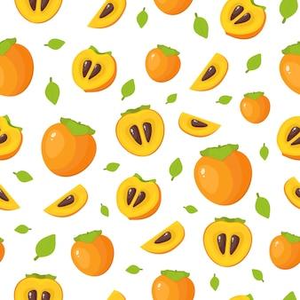 Modèle sans couture de kaki lumineux avec moitié, tranche et fruit entier. illustration vectorielle