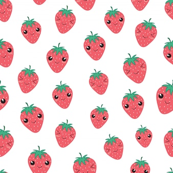 Modèle sans couture kawaii heureux aux fraises