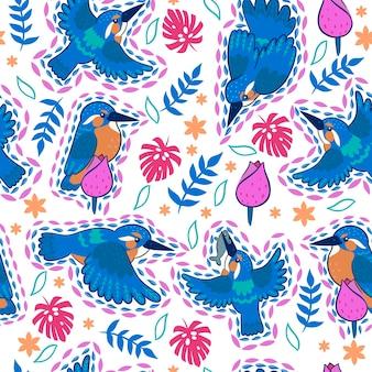 Modèle sans couture de kingfisher sur fond blanc.