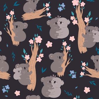 Modèle sans couture avec des koalas mignons. graphiques vectoriels.