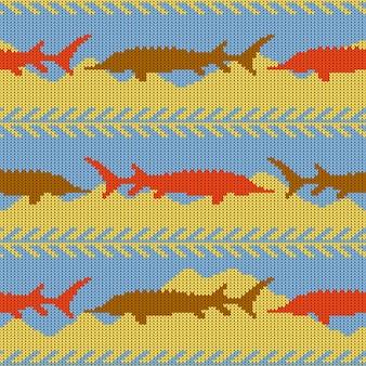 Modèle sans couture en laine tricotée avec des esturgeons