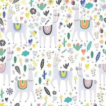 Modèle sans couture avec lama, cactus, arc-en-ciel et éléments dessinés à la main.
