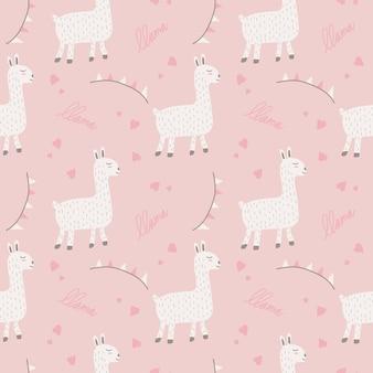 Modèle sans couture de lama mignon