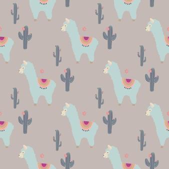 Modèle sans couture avec des lamas et des cactus bleus mignons