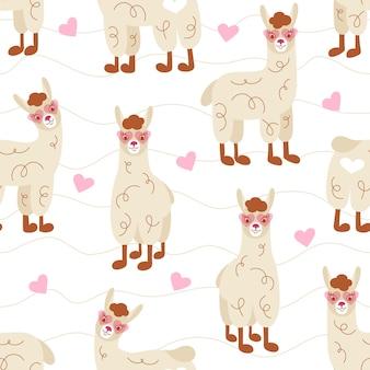 Modèle sans couture de lamas de dessin animé mignon dans des verres roses sur fond blanc.