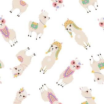 Modèle sans couture avec des lamas mignons. fond avec alpaga drôle