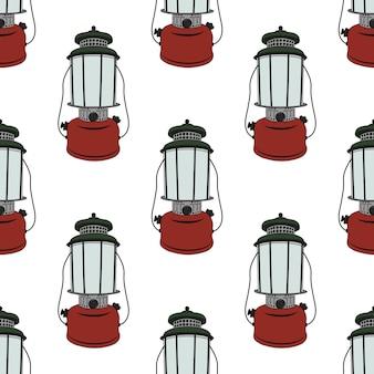 Modèle sans couture de lanterne de camp.