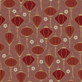 Modèle sans couture de lanternes traditionnelles chinoises