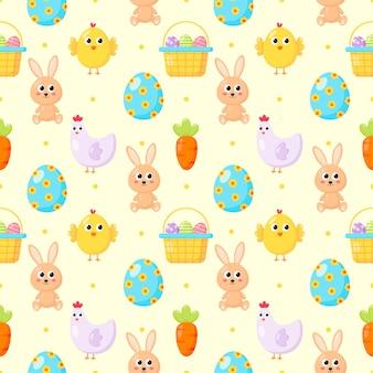 Modèle sans couture avec lapin et carotte