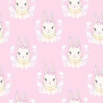 Modèle sans couture avec lapin de dessin animé mignon,