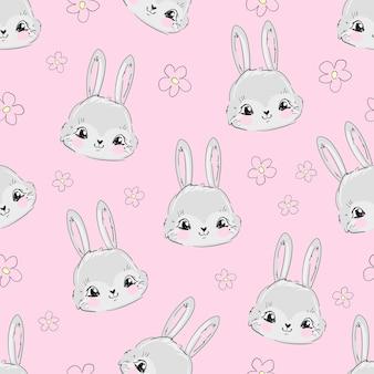 Modèle sans couture de lapin mignon dessiné main et fleur rose