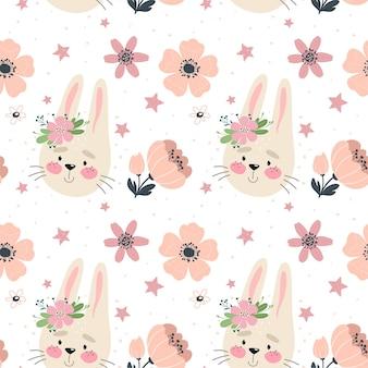 Modèle sans couture avec lapin mignon et fleurs.