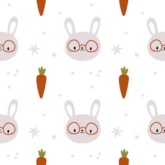Modèle sans couture avec lapin mignon motif enfantin avec des lapins et des carottes