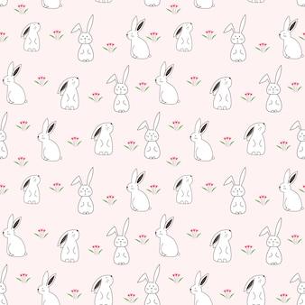 Modèle sans couture de lapin mignon