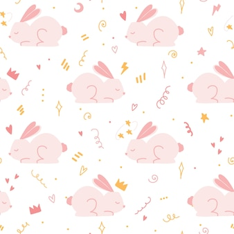 Modèle sans couture avec lapin rose mignon. conception sans couture pour vêtements de bébé ou crèche