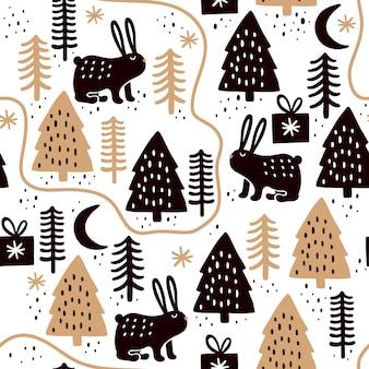 Modèle sans couture avec des lapins et des arbres de noël.