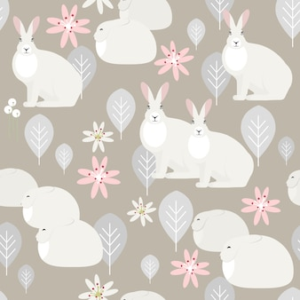 Modèle sans couture avec des lapins blancs