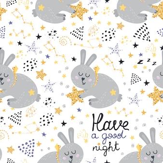 Modèle sans couture avec des lapins endormis