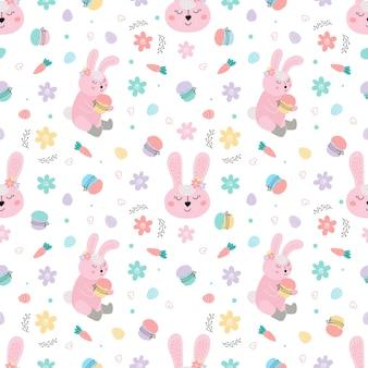 Modèle sans couture avec lapins, gâteaux, oeufs, fleurs