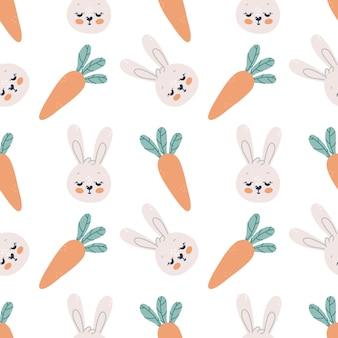 Modèle sans couture avec des lapins mignons et des carottes