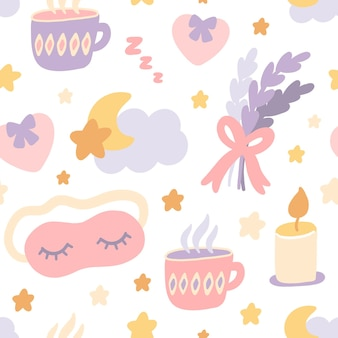 Modèle sans couture avec la lavande bouquet nuage lune étoiles sommeil masque tasse de thé bougie