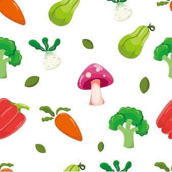 Modèle sans couture avec légume, carotte, champignon, flacon, orion, paprika et brocoli. fond végétal.