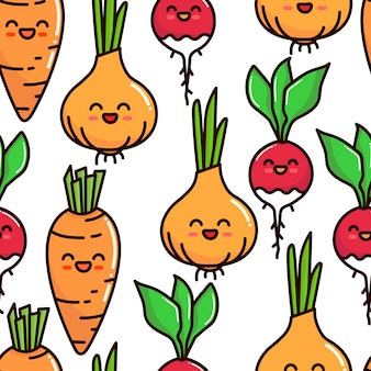Modèle sans couture de légumes caractères