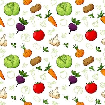 Modèle sans couture avec des légumes dans un style linéaire dessiné à la main.
