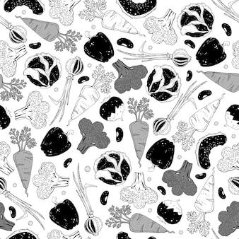Modèle sans couture avec des légumes de dessin animé