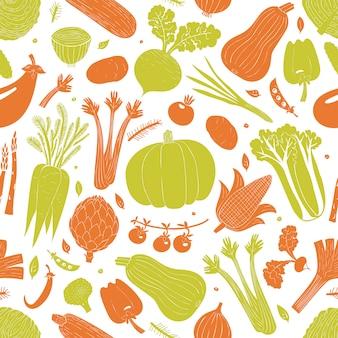 Modèle sans couture de légumes dessinés à la main de dessin animé