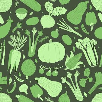 Modèle sans couture de légumes dessinés à la main de dessin animé.