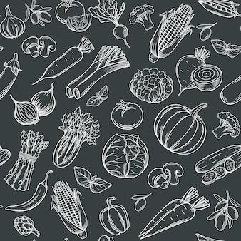Modèle sans couture de légumes dessinés à la main.